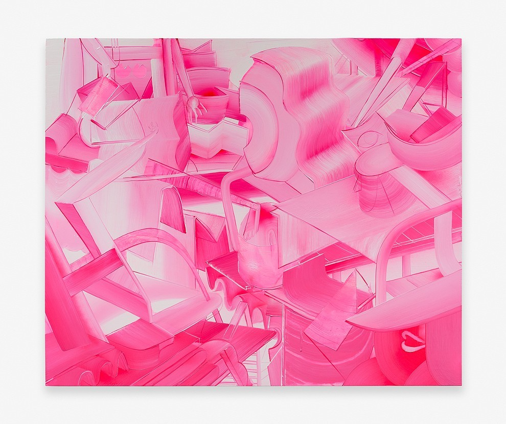 "Andrew Holmquist. ""Untitled,"" 2015. Oil, acrylic and spray paint on canvas, 60i x 50 inches"