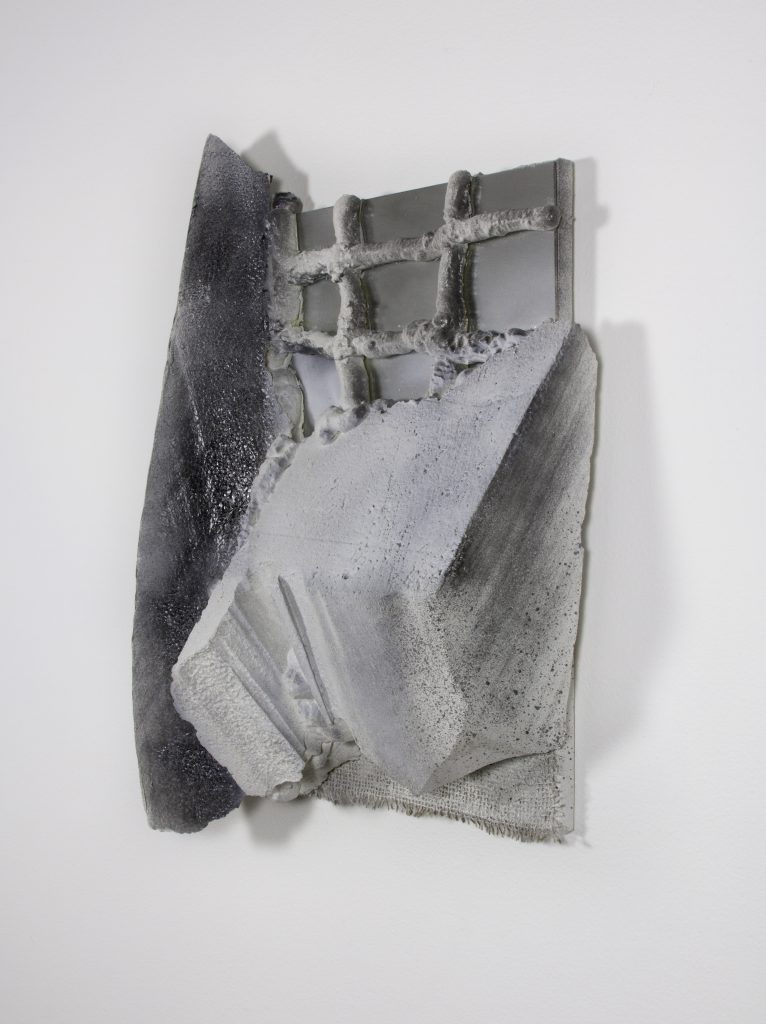 "Sabina Ott, ""a complete history,"" 2016. Styrofoam, canvas, mirror, spray foam, burlap, acrylic, gesso and spray paint, 25 x 18 x 5.5 inches"