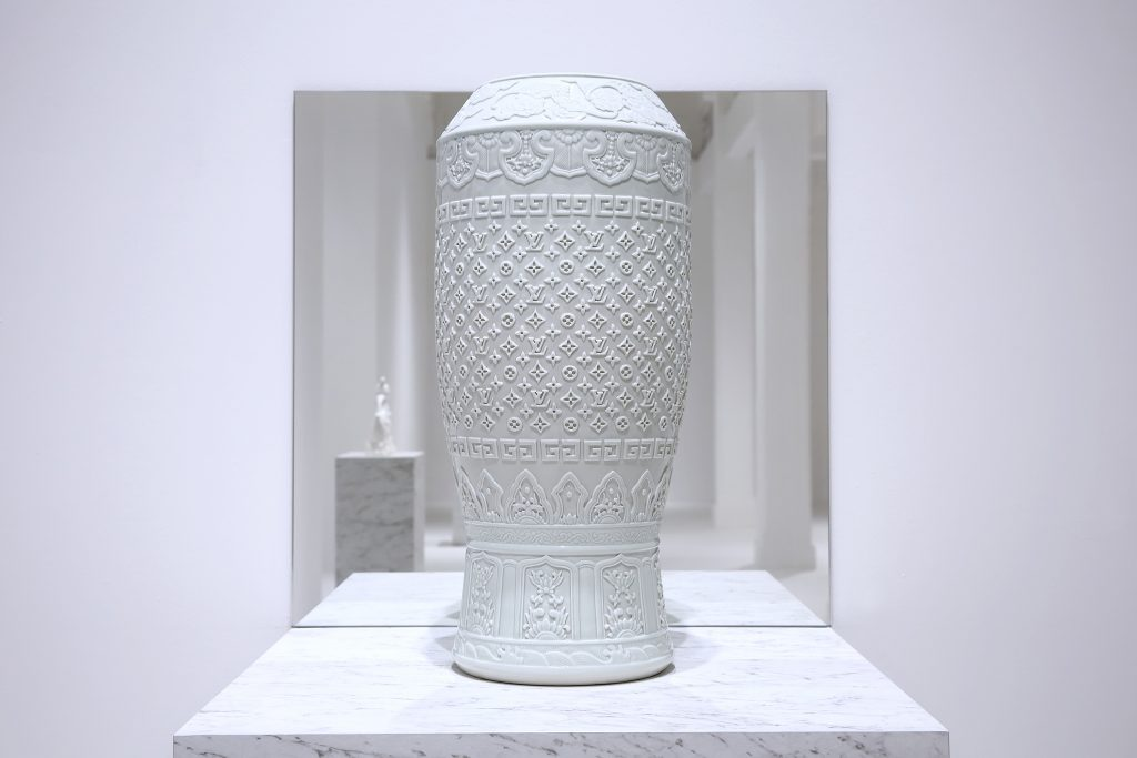 "Carlos Rolón/Dzine, ""Untitled (Fine Regal China #1),"" Porcelain with carved pattern, 11.8 x 11.8 x 23 inches"