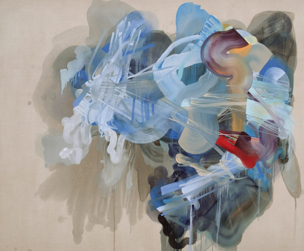 """Dana Oldfather, """"The Strain Gives Way,"""" Oil, ink acrylic and spray paint on linen, 66 x 80 inches"""