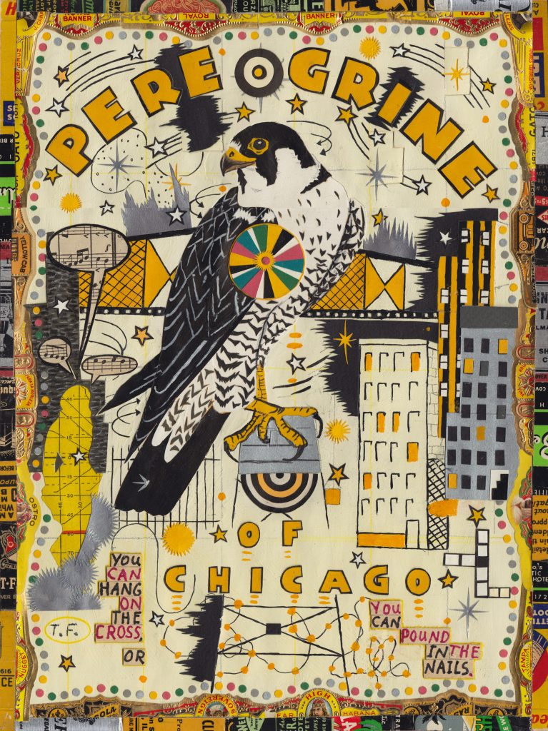 """Tony Fitzpatrick, """"Peregrine of Chicago,"""" 2014. Gouache, watercolor, ink and collage"""