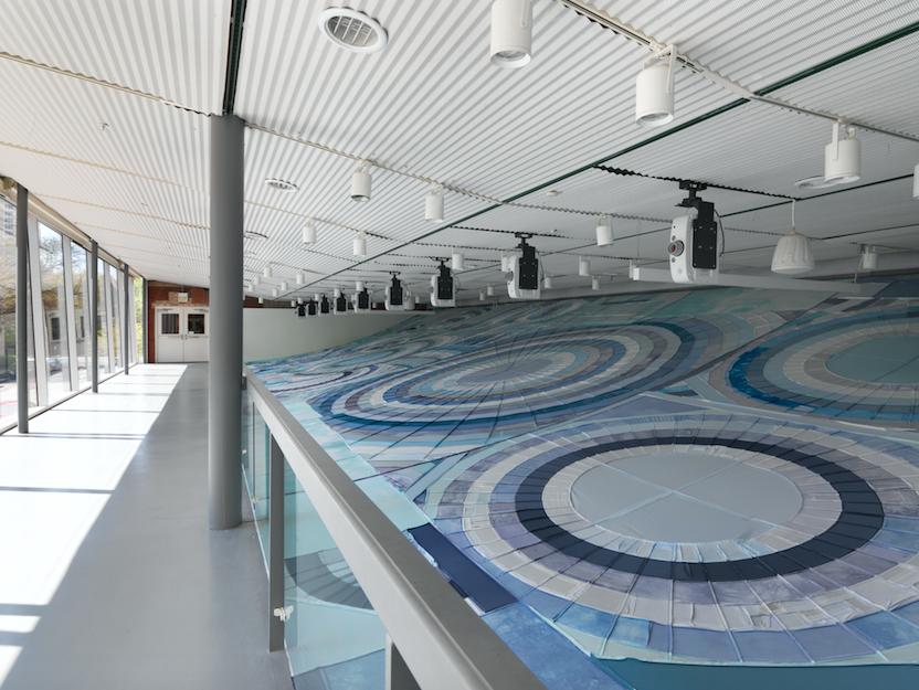 """Karen Reimer, Installation view of """"Shoretime Spaceline"""" a the Hyde Park Art Center, Summer 2016"""
