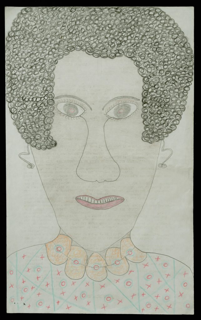 "Inez Nathaniel Walker, ""Untitled (Portrait of woman with necklace)"" Mixed media on typing paper, 18 1/2 x 13 inches"