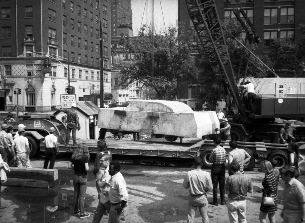 "Wolf Vostell's ""Concrete Traffic"" being transported to the University of Chicago, June 1970. Collection Museum of Contemporary Art Chicago Library and Archives. /Photo: Jean-claude LeJeune"
