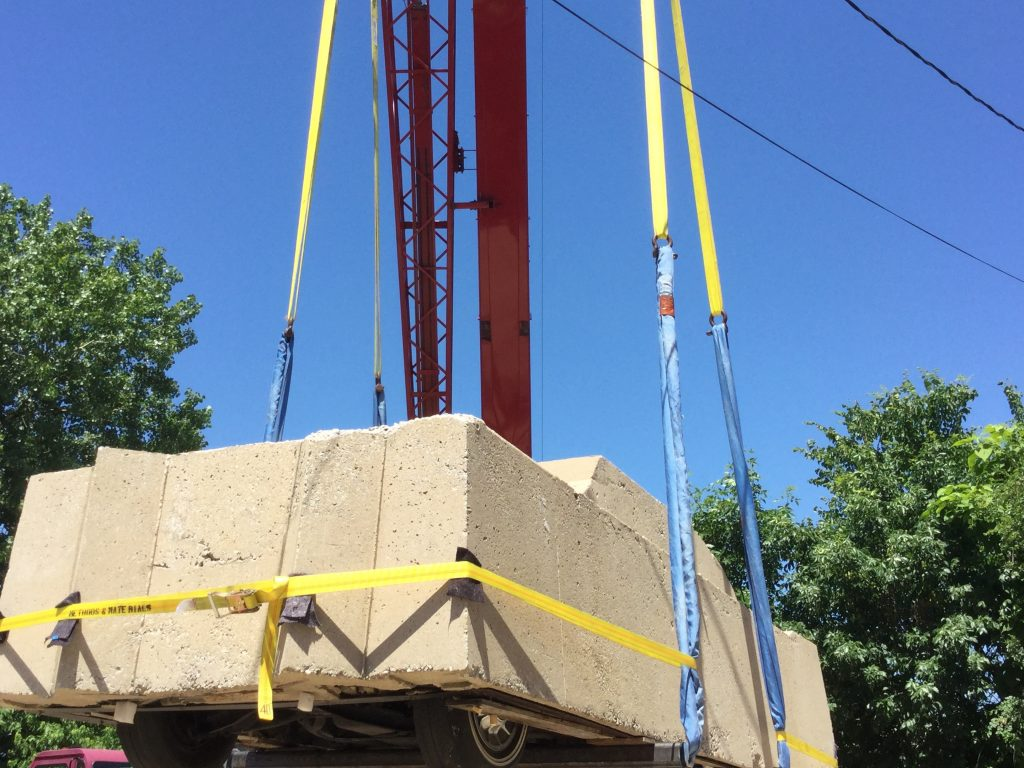 "Transferring ""Concrete Traffic"" onto a new support structure, June 2016."