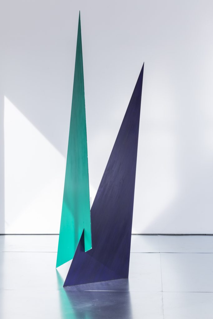 """Amalie Jakobsen, """"Untitled,"""" 2016. Aluminum, acrylic paint, 76 x 26 x 20 inches"""