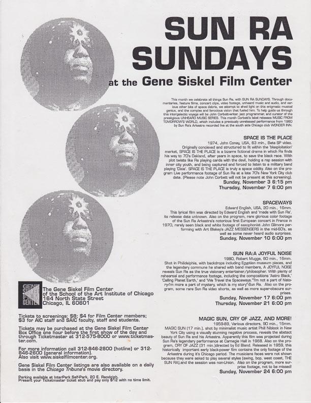 """Program for """"Sun Ra Sundays"""" at the Gene Siskel Film Center, Fall 1996."""