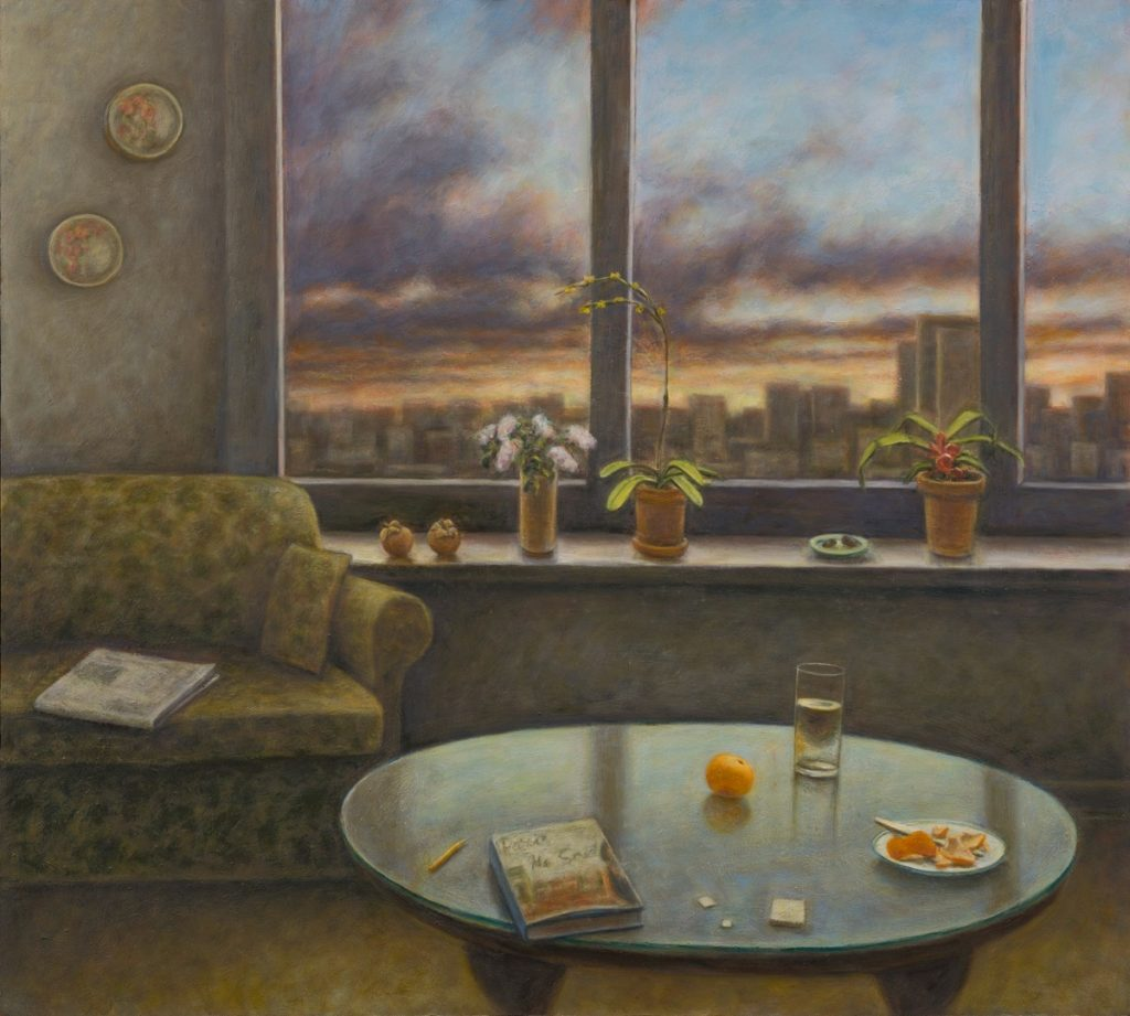"""Susan Kraut, """"Chicago Living Room, With Paris, He Said,"""" 2016. Oil on panel, 36 x 40 inches"""