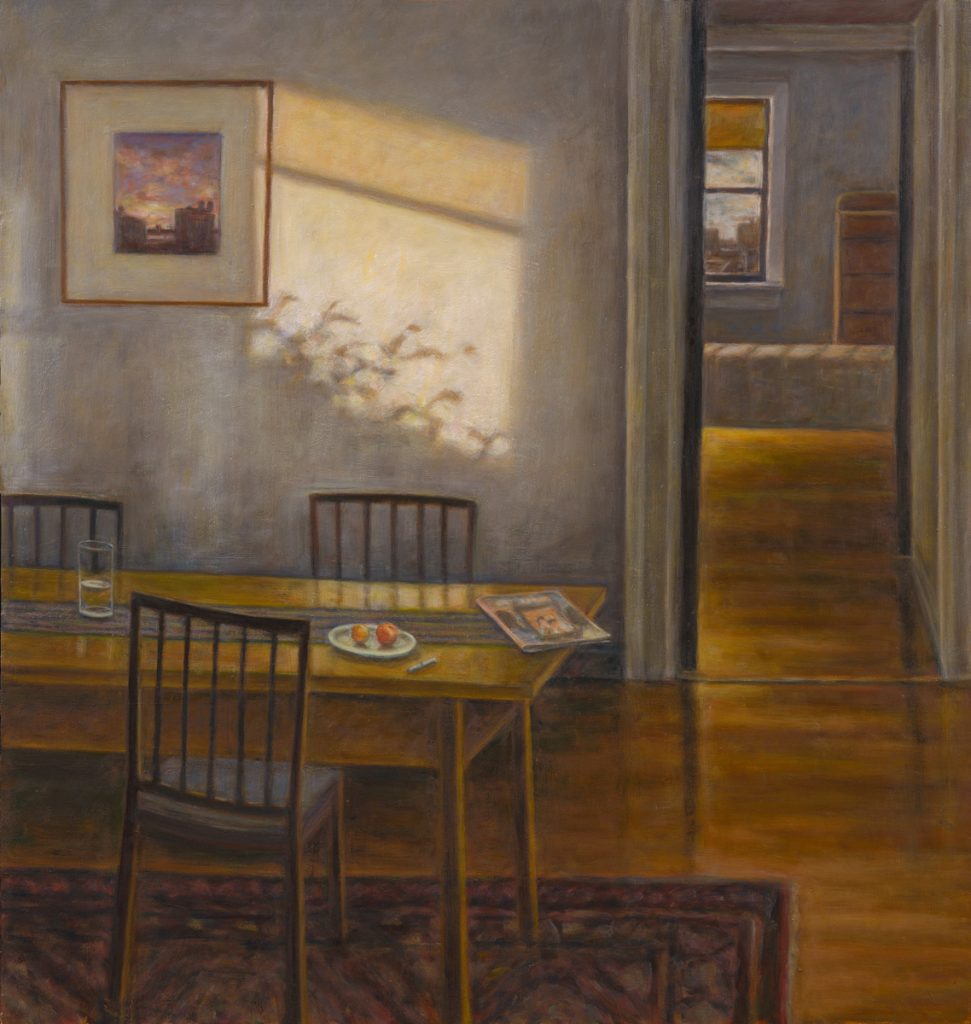 """Susan Kraut, """"New York Dining Room II, With Shadow,"""" 2016. Oil on panel, 38 x 36 inches"""
