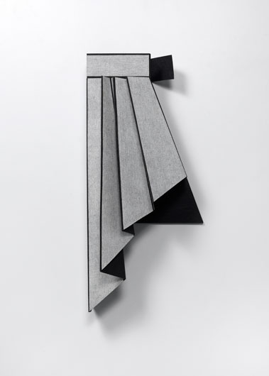 """Diane Simpson, """"Peplum III,"""" 2014. MDF, oil stain, spunbound polyester, gessoed linin canvas and colored pencil; 41 x 19 x 11 inches"""