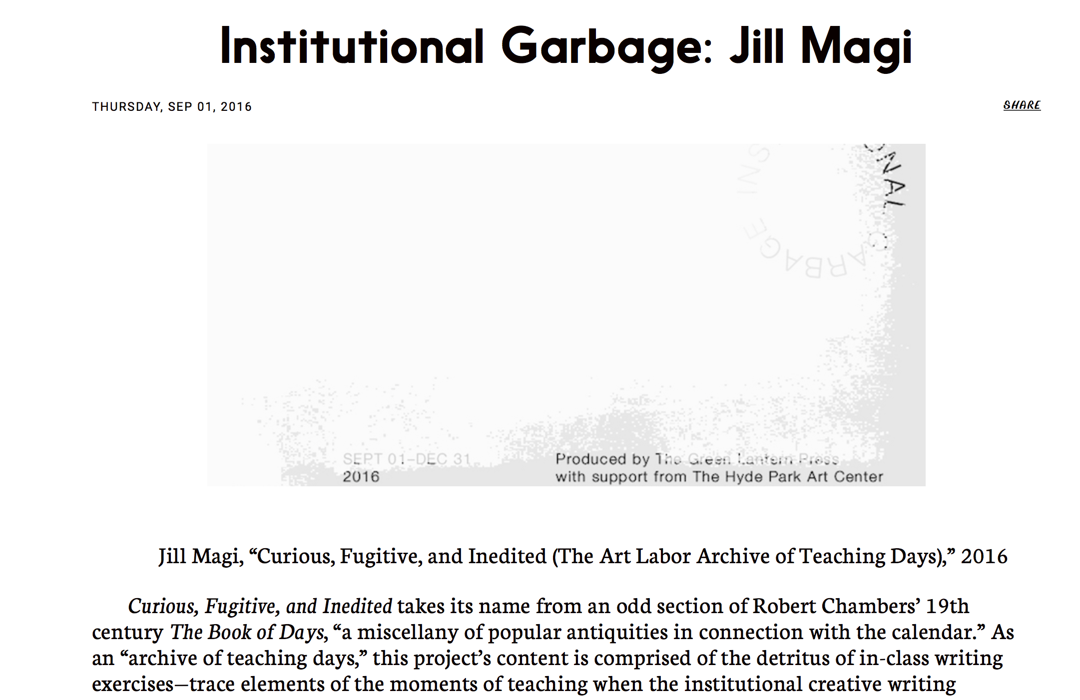 """Screenshot of Jill Magi's """"Curious, Fugitive, and Inedited (The Art Labor Archive of Teaching Days)"""" from """"Institutional Garbage,"""" Fall 2016"""