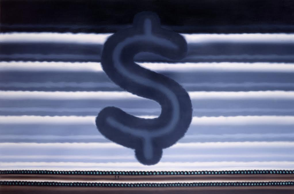 """Roger Brown, """"Landscape with Dollar Sign,"""" 1991, Oil on canvas, 48 x 72 inches"""