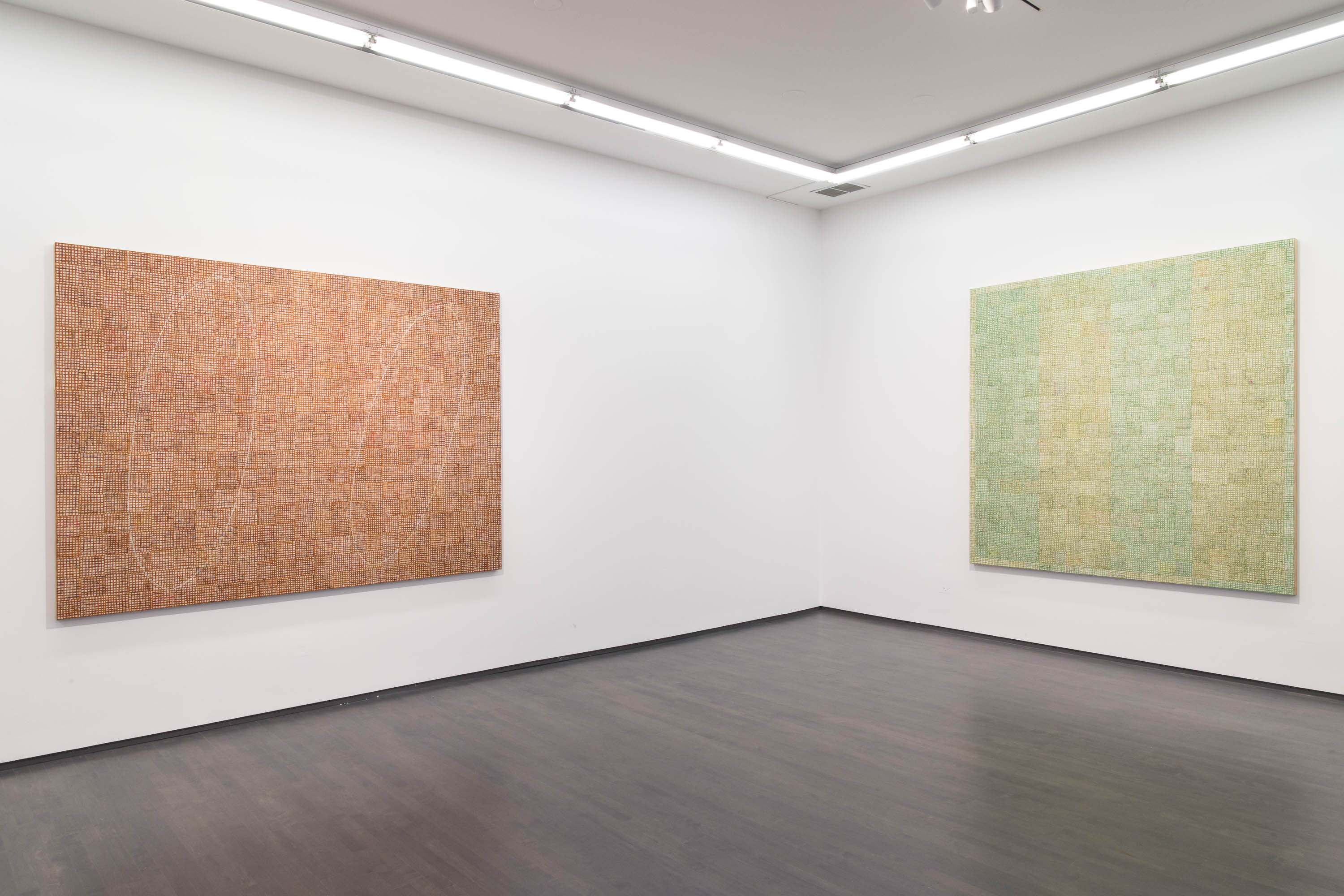 "McArthur Binion, Installation view of ""Seasons"" at Kavi Gupta Gallery, Fall 2016"