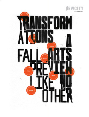 """Black graffiti text reads """"A Fall Arts Preview"""" with interspersed red circles that read """"Art"""" """"Design"""" and more."""